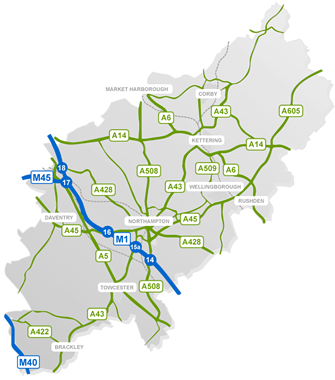 Main Northamptonshire Roads